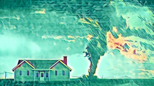 Filtered tornado over the horizon behind a house