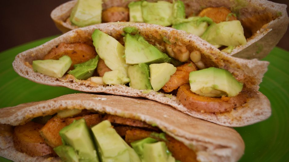 Spicy Veggie Sweet Potato Pita Pockets with Avocado & Pine Nuts