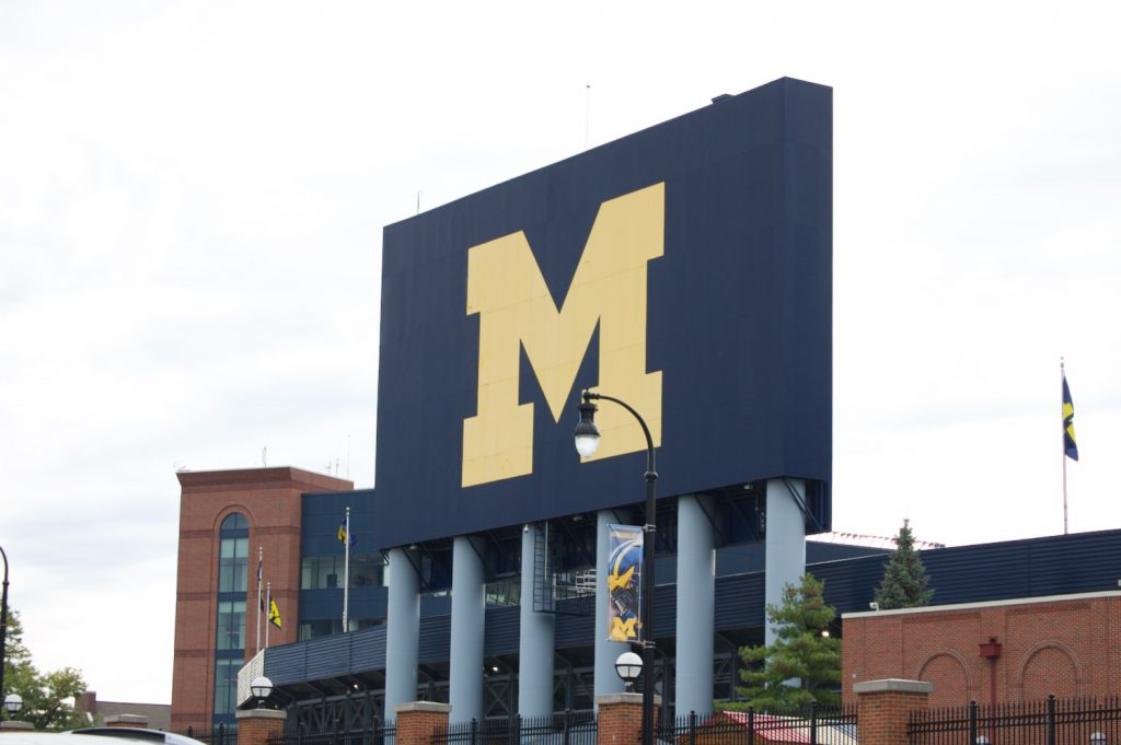Michigan Stadium scoreboard from behind