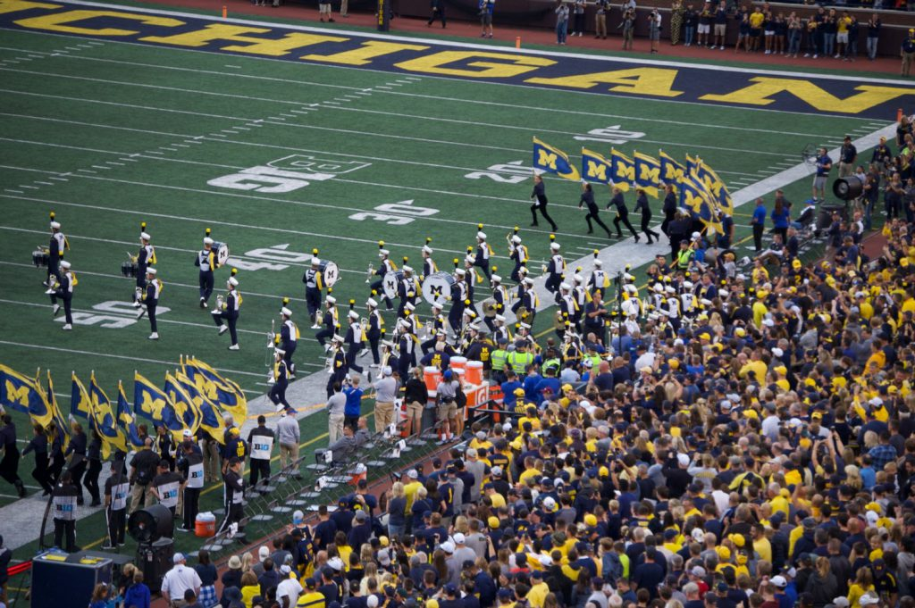 Michigan Marching Band taking the field for pregame