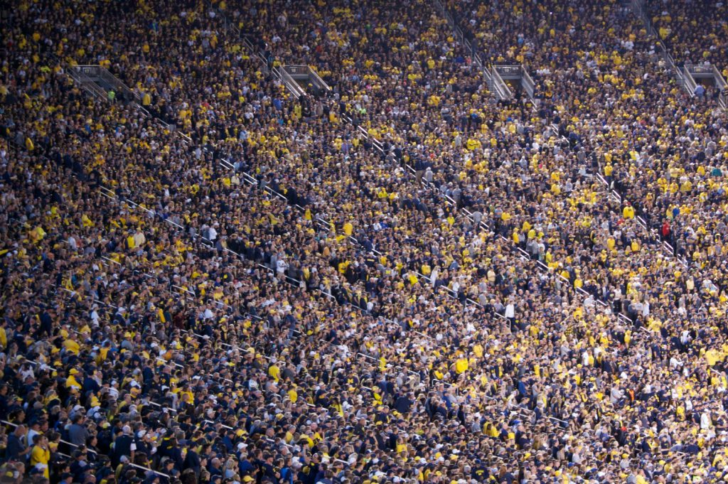 Michigan fans in a packed Michigan Stadium
