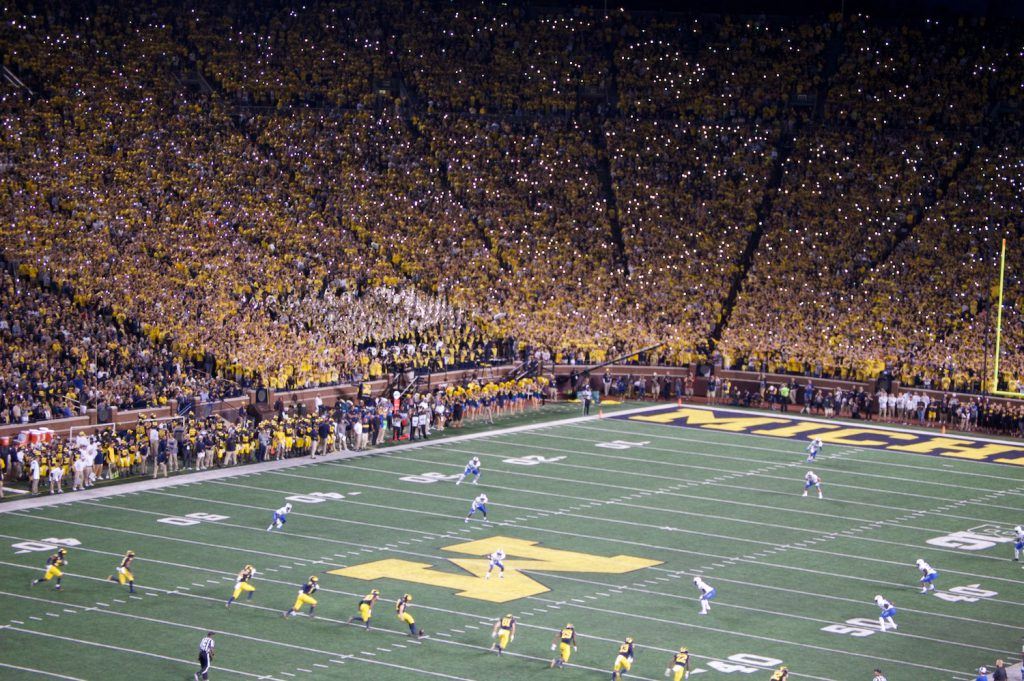Middle Tennessee Blue Raiders at Michigan Wolverines with flashlights