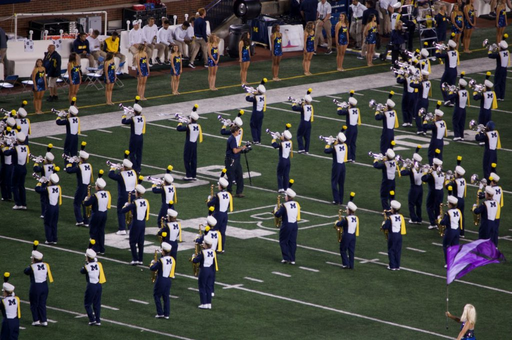 Michigan Marching Band during halftime